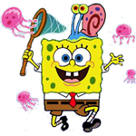 картинки спанч боб ловит медуз